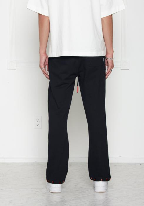 Wide Legged Sweatpants with Side Panels and Embroidery at Hem