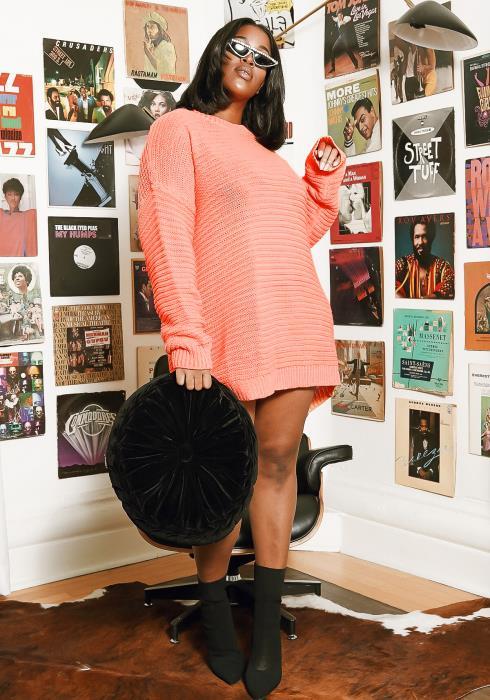 Asoph Plus Size Neon Coral Sweater Dress