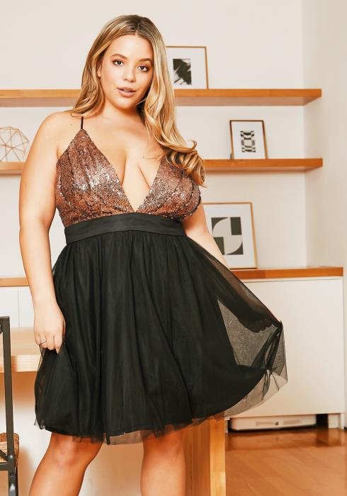 Asoph Plus Size Sequined Fit Flare Dress