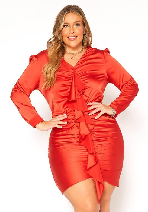 Asoph Plus Size Satin Waterfall Drape Long Sleeve Mini Dress