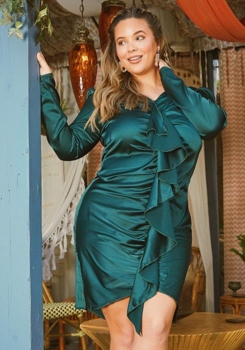 Asoph Plus Size Satin Waterfall Drape Long Sleeve Mini Dress