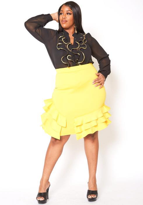 Asoph Plus Size Tiered Ruffle Hem High Waist Pencil Skirt