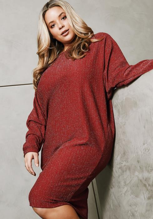 Asoph Plus Size Slouchy Lurex Sweater Dress