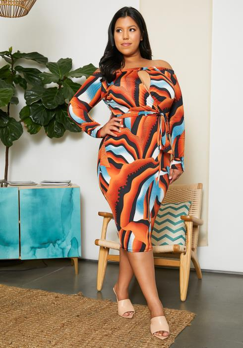 Asoph Plus size Sexy Keyhole Bodycon Dress