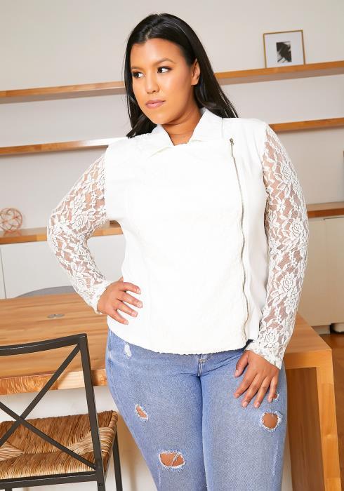 Asoph Plus Size Lace Contrast Moto Jacket