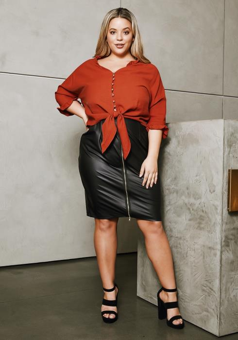 Asoph Plus Size Leather Zip Up Pencil Skirt