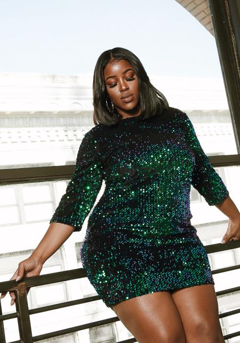 Asoph Plus Size Emerald Sequin Womens Celebration Mini Dress