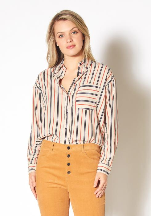 Pleione Button Up Multi Stripe Shirt
