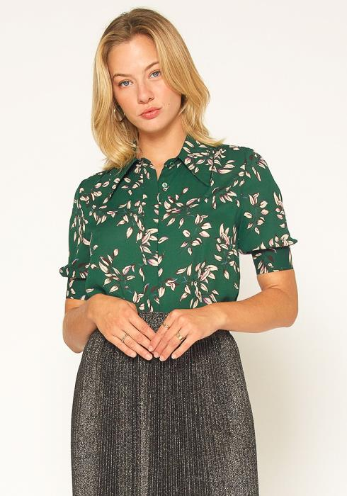 Pleione Button Up Short Sleeve Cuffed Blouse