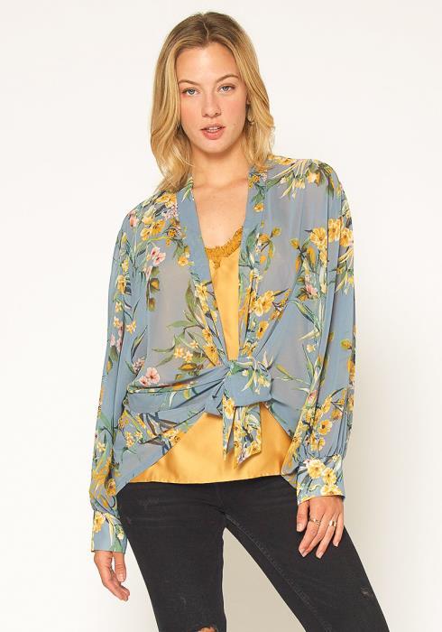 Pleione Floral Tie Front Blouse