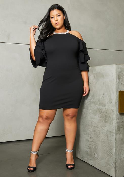 Asoph Plus Size Cold Shoulder Crystal Dress