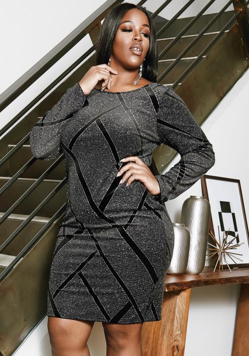 Asoph Plus Size Black Contrast Glitter Dress