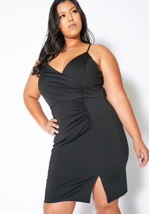 Asoph Plus Size Ruched Spaghetti Strap Dress