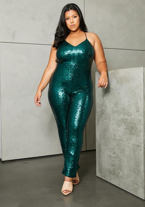 Asoph Plus Size Emerald Mermaid Sequin Jumpsuit