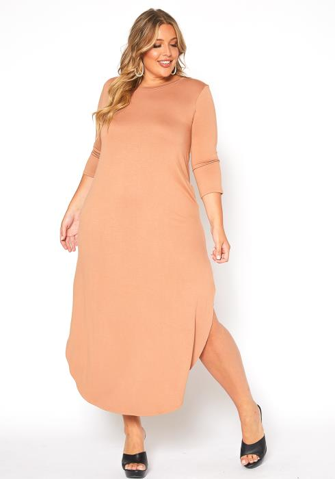 Asoph Plus Size Double Slit Hem Maxi Dress