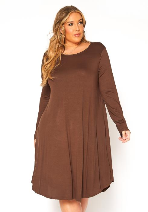 Asoph Plus Size Basic Tunic Midi Dress
