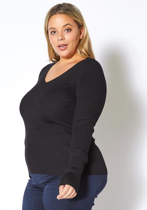Asoph Plus Size Fitted Rib Knit V-Neck Top