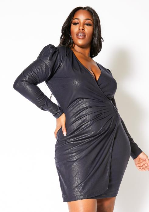 Asoph Plus Size Deep Blue Pebbled Womens Party Mini Dress