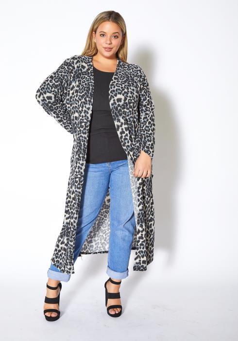 Asoph Plus Size Gray Leopard Long Cardigan
