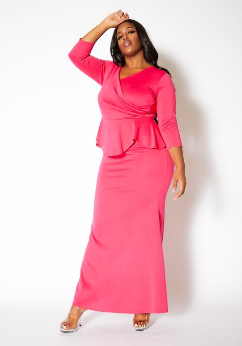 Asoph Plus Size Pretty In Pink Womens Peplum Maxi Gown