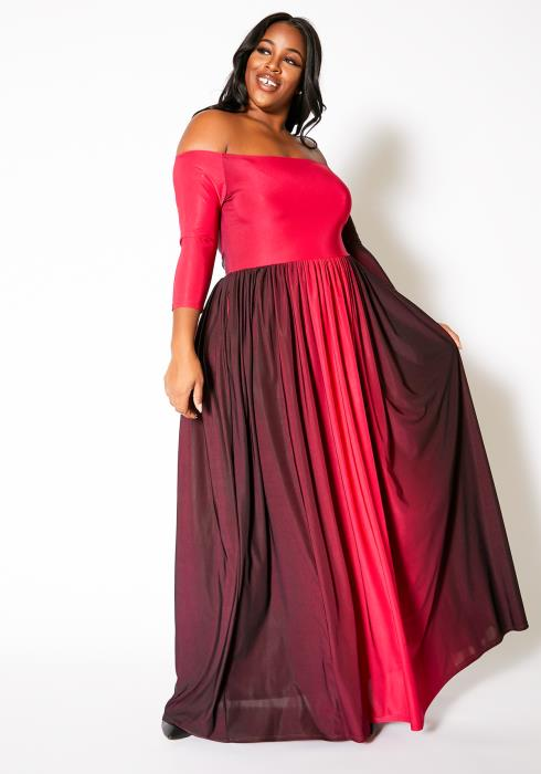 Asoph Plus Size Fiery Ombre Womens Off Shoulder Maxi Dress