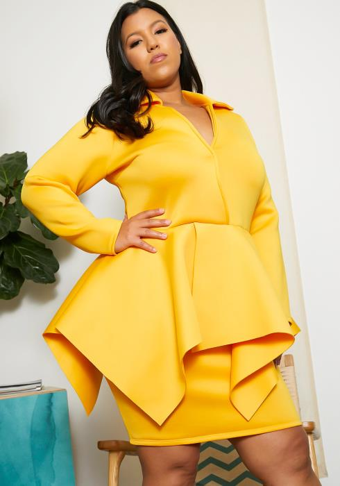 Asoph Plus Size Deep V Peplum Dress