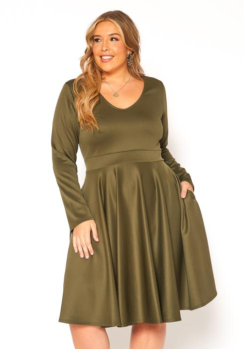 Asoph Plus Size Long Sleeve Fit & Flare Dress