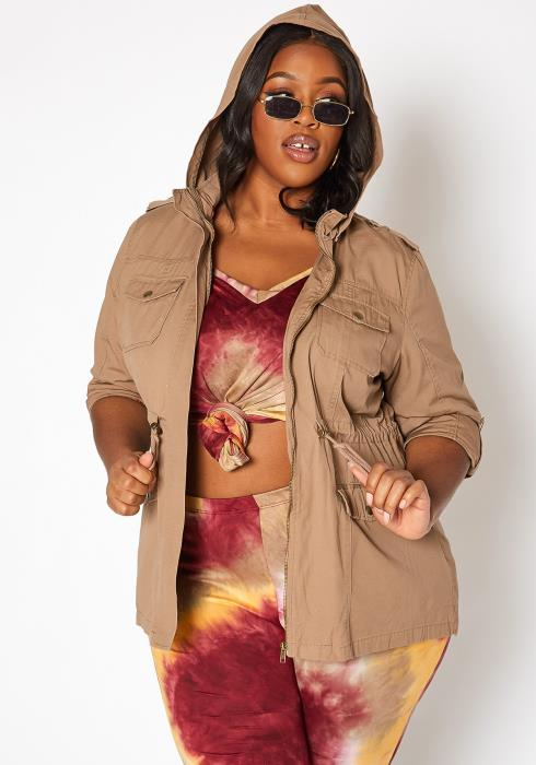 Asoph Plus Size Hooded Utility Jacket