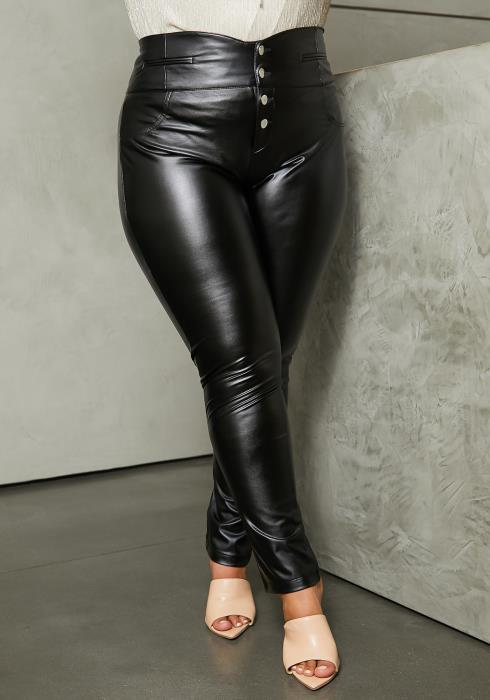 Asoph Plus Size Button Front PU Leather Pants