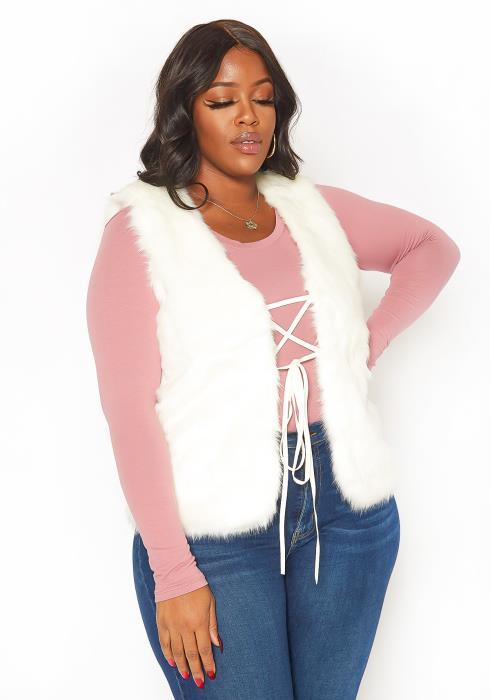 Asoph Plus Size Womens Faux Fur Lace Up Vest