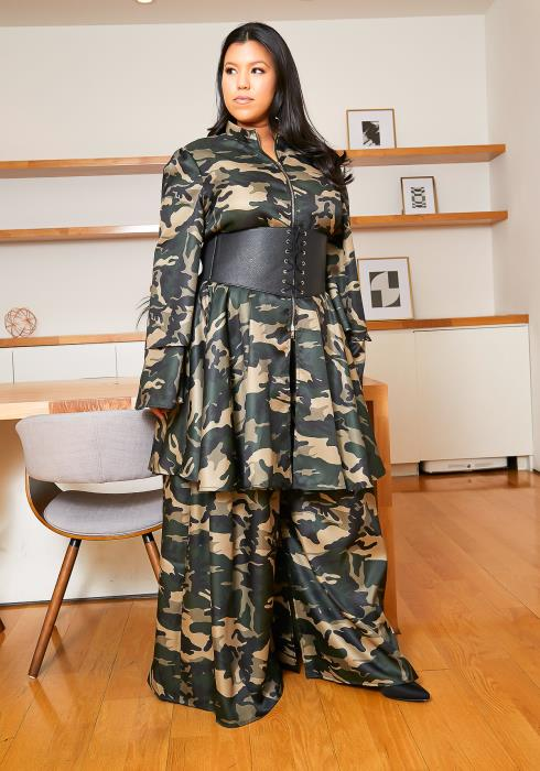 Asoph Plus Size Military Set