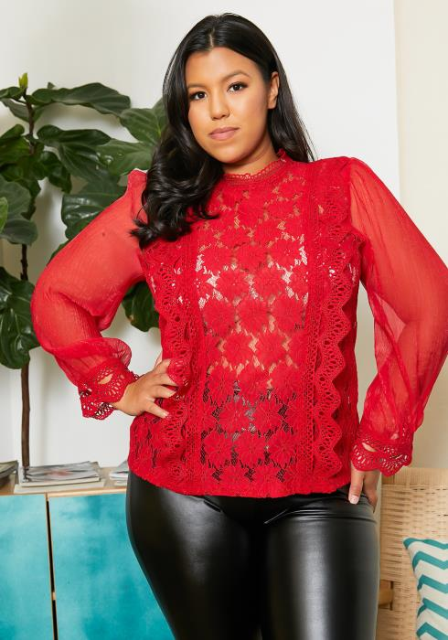 Asoph Plus Size Floral Laced Blouse Top