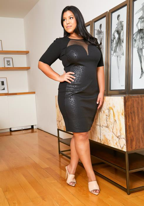 Plus Size Subtle Leopard Black Dress
