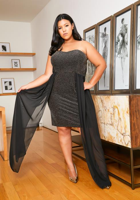 Asoph Plus Size Night Queen Chiffon Dress