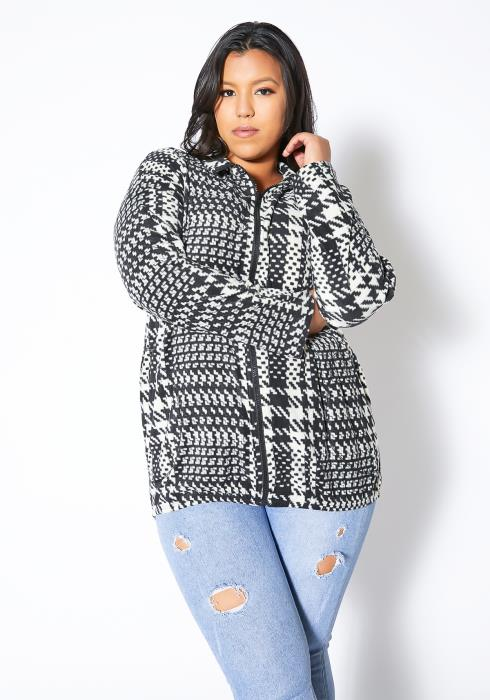 Asoph Plus Size Plaid Zip Up Fleece
