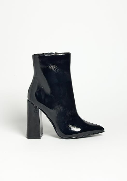 Asoph Glossy Jet Black Pointed Toe Block Heel Booties