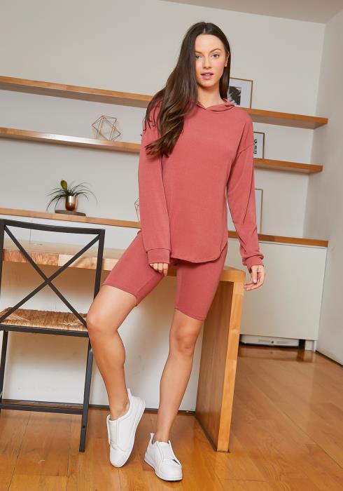Tansy Fresh Womens Loose Pullover Hoodie & Biker Shorts Set
