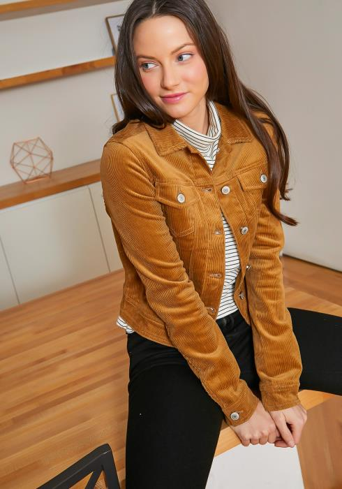 Tansy Vintage Corduroy Womens Fitted Collar Jacket