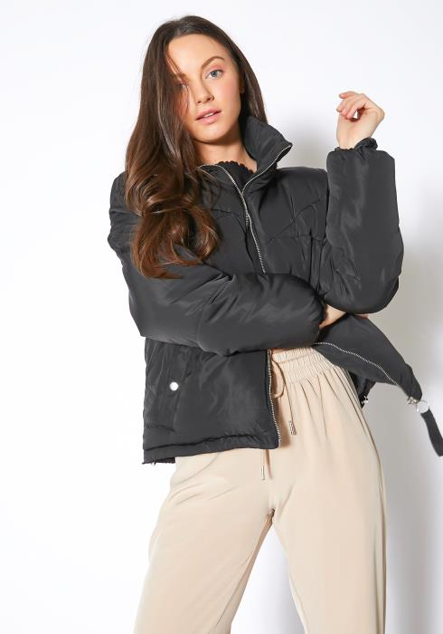 Tansy Womens Black Turtleneck Puffer Jacket