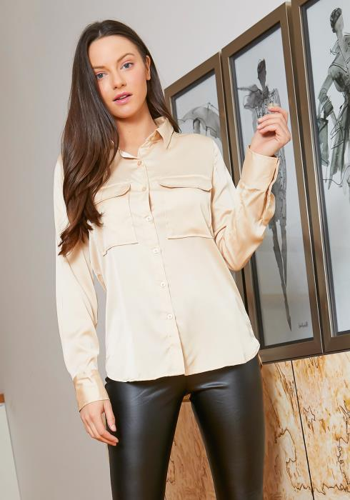 Tansy Champagne Satin Fancy Womens Collar Blouse