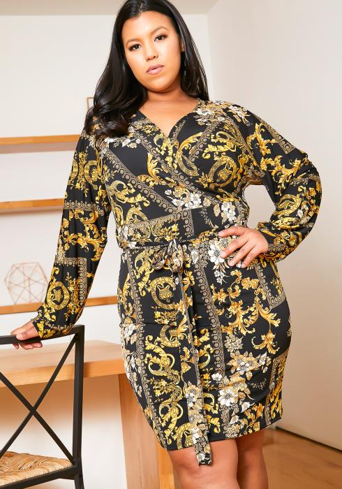 Asoph Plus Size Royal Wrap Dress