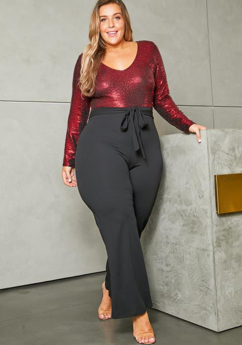 Asoph Plus Size Sequin Contrast Jumpsuit