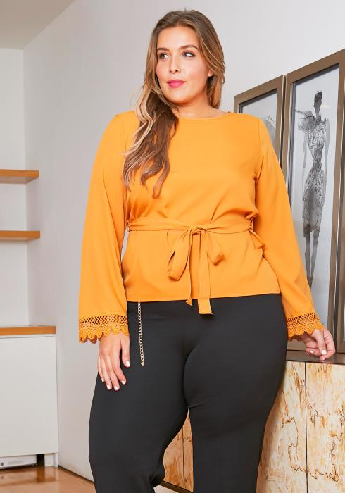 Asoph Plus Size Bow Front Womens Classic Mustard Blouse