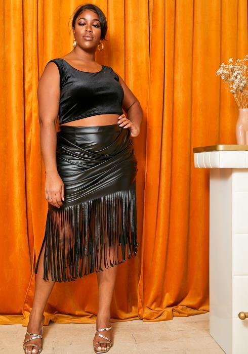 Asoph Curvy Womens Matte PU Leather Overlay Fringe Skirt