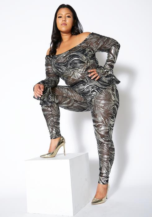 Asoph Plus Size Silver Stroke Two Piece Mesh Set