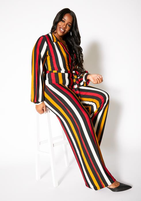 Asoph Plus Size Fall Season Womens Striped Collar Jumpsuit