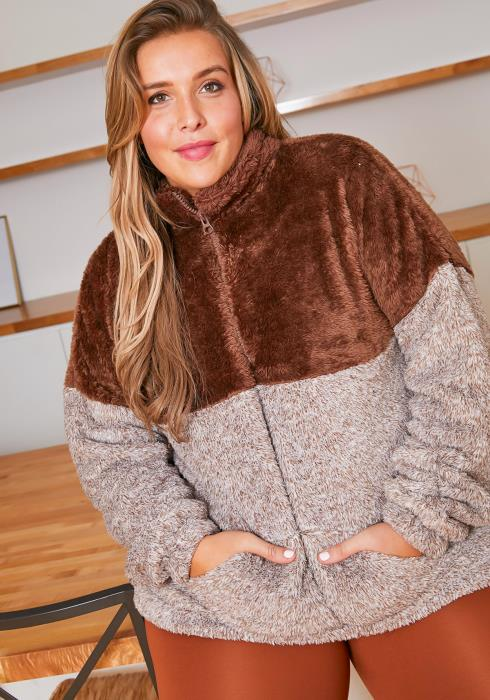 Asoph Plus Size Cozy Bear Contrast Color Womens Turtleneck Sweater