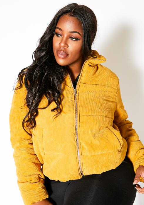 Asoph Plus Size Mustard Corduroy Womens Turtleneck Puffer Jacket