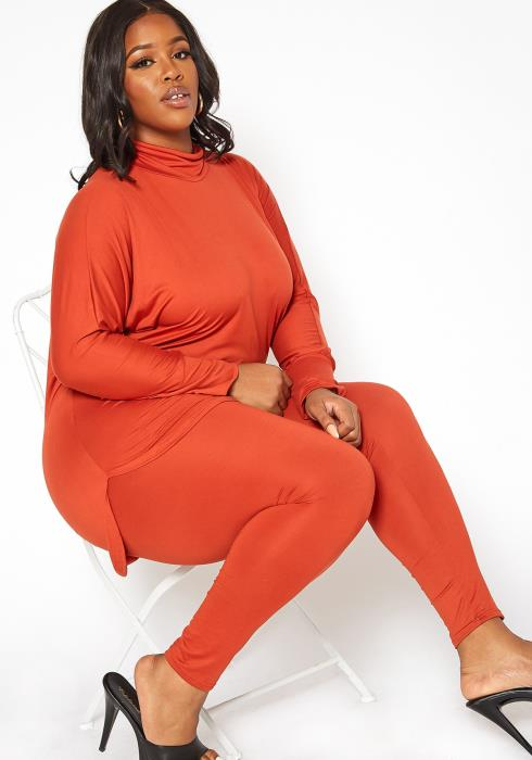 Asoph Plus Size Chill In Mock Neck Sweater & Leggings Set