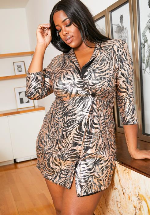 Asoph Plus Size Bronze Metallic Womens Party Mini Blazer Dress